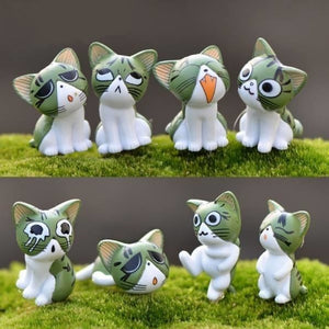 Green Cats Set of 9