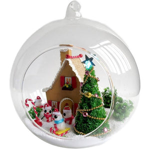 Mini White Christmas DIY Glass Ball House Series