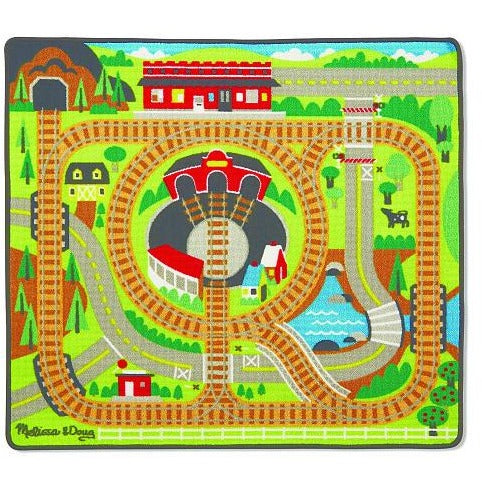 Melissa & Doug Round the Rails Train Rug With 3 Linking Wooden Train Cars (39 x 36 inches)