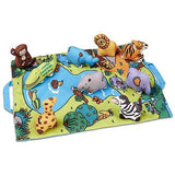 Melissa & Doug Take-Along Folding Wild Safari Play Mat (19.25 x 14.5 inches) With 9 Animals