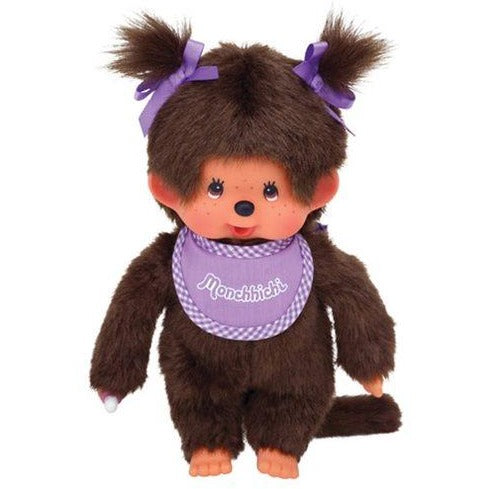 Monchhichi Girl Purple Bib Plush