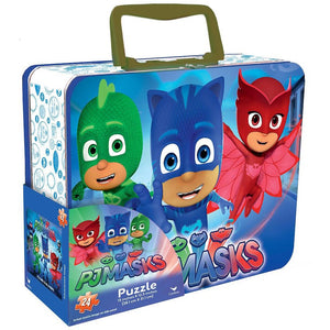 PJ Masks Lunch Box Tin with Handle Themed Jigsaw Puzzle - 24-Piece