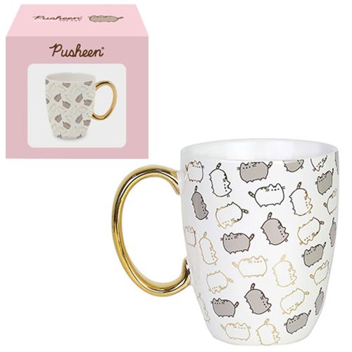 Pusheen the Cat Gold Pattern Mug