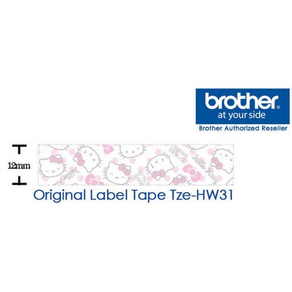 Brother PTouch Tape Cassette Hello Kitty Laminated 12 mm Black On HK Print  8m TZe-HW31