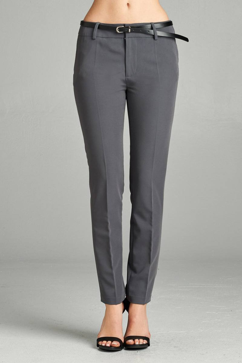 Classic Pants, Belt, Zipper, Pockets, Polyester, Rayon , Spandex Material, Long, Charcoal/Grey Color