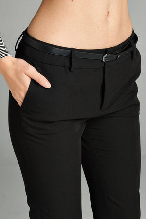 Classic Pants, Belt, Zipper, Pockets, Polyester, Rayon , Spandex Material, Long, Black Color