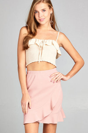 Ruffle Mini Skirt, High Waist, Ruffle decorations, Banded waist wrap, Polyester and spandex material, Blush Color