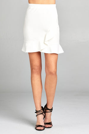 Ruffle Mini Skirt, High Waist, Ruffle decorations, Banded waist wrap, Polyester and spandex material, White Color