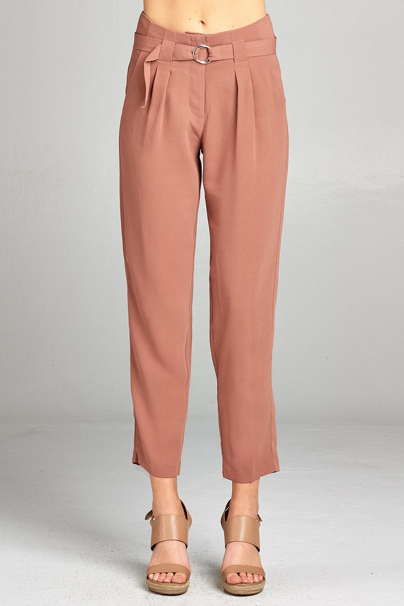 Ankle length Loose Pants, Double metal trim belt decoration, Polyester Material, Comfortable, Blossom Color