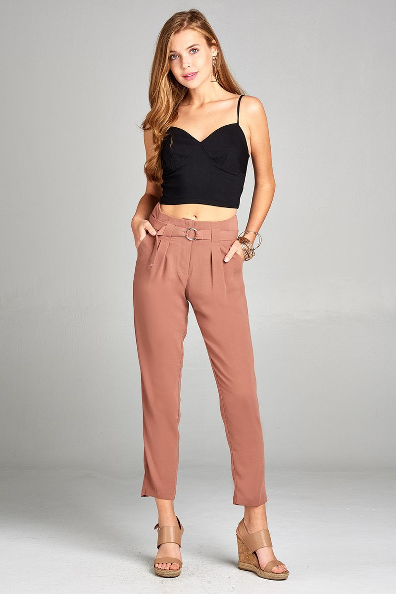 Ankle length Loose Pants, Double metal trim belt decoration, Polyester Material, Comfortable, Sandy Pink Color