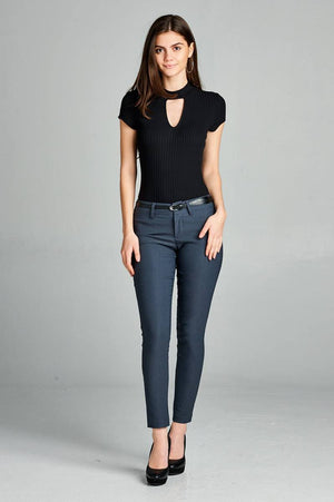 Belted Ankle Length Pants, Rayon, Nylon, Spandex Material, Comfy, Belt, pockets, zipper decorations, Charcoal Color