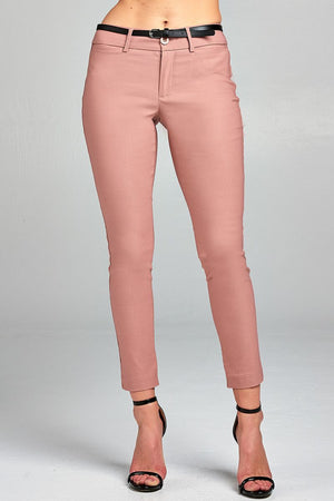 Belted Ankle Length Pants, Rayon, Nylon, Spandex Material, Comfy, Belt, pockets, zipper decorations, Dusty Pink Color