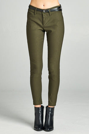 Belted Ankle Length Pants, Rayon, Nylon, Spandex Material, Comfy, Belt, pockets, zipper decorations, Moss Olive Color
