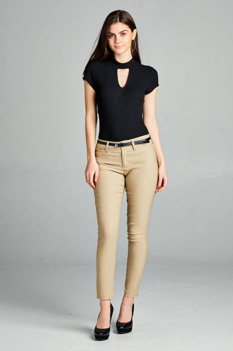 Belted Ankle Length Pants, Rayon, Nylon, Spandex Material, Comfy, Belt, pockets, zipper decorations, New Khaki Color