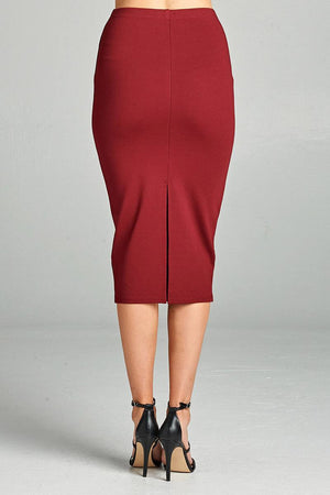 Ponte High Waist Skirt, Mid-calf Length, Rayon, Nylon, Spandex Material, Elegant, Comfortable, Burgundy Color