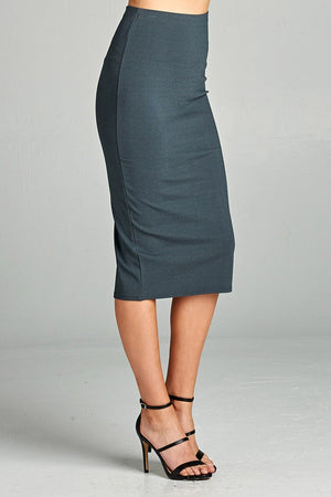 Ponte High Waist Skirt, Mid-calf Length, Rayon, Nylon, Spandex Material, Elegant, Comfortable, Charcoal Color