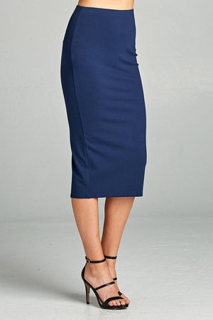 Ponte High Waist Skirt, Mid-calf Length, Rayon, Nylon, Spandex Material, Elegant, Comfortable, Dark Navy Color
