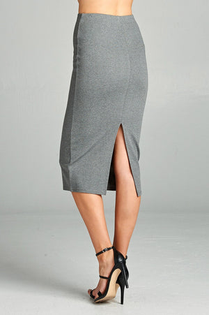 Ponte High Waist Skirt, Mid-calf Length, Rayon, Nylon, Spandex Material, Elegant, Comfortable, Heather Grey Color