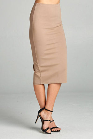 Ponte High Waist Skirt, Mid-calf Length, Rayon, Nylon, Spandex Material, Elegant, Comfortable, Mocha Color
