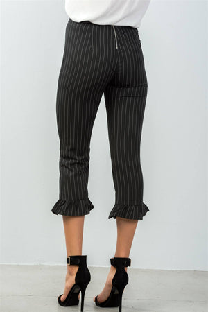 Pinstripe Ruffle Hem Pants, High Waist, Spandex Material, Ruffle Decoration,  Black Color