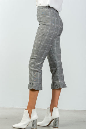 Pinstripe Ruffle Hem Pants, High Waist, Spandex Material, Ruffle Decoration,  Grey Color