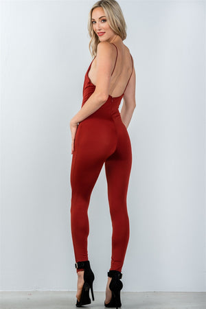 cowl-neckline jumpsuit, low back, polyester material, spandex material, rust color, romper