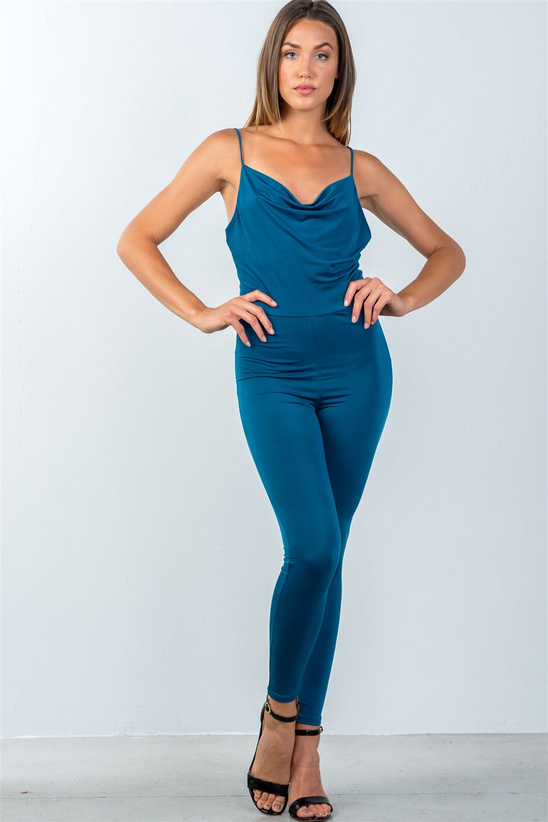 cowl-neckline jumpsuit, low back, polyester material, spandex material, teal color, romper