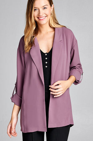 Open-front jacket, simplicity, Roll-up sleeve, Polyester material, spandex material, grape shake color