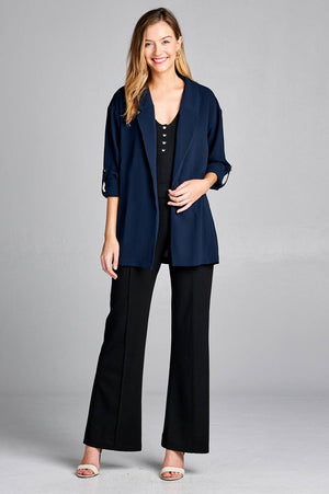 Open-front jacket, simplicity, Roll-up sleeve, Polyester material, spandex material, navy color