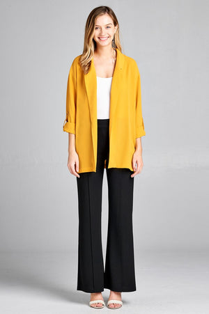 Open-front jacket, simplicity, Roll-up sleeve, Polyester material, spandex material, sunflower color