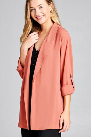 Open-front jacket, simplicity, Roll-up sleeve, Polyester material, spandex material, desert pink color