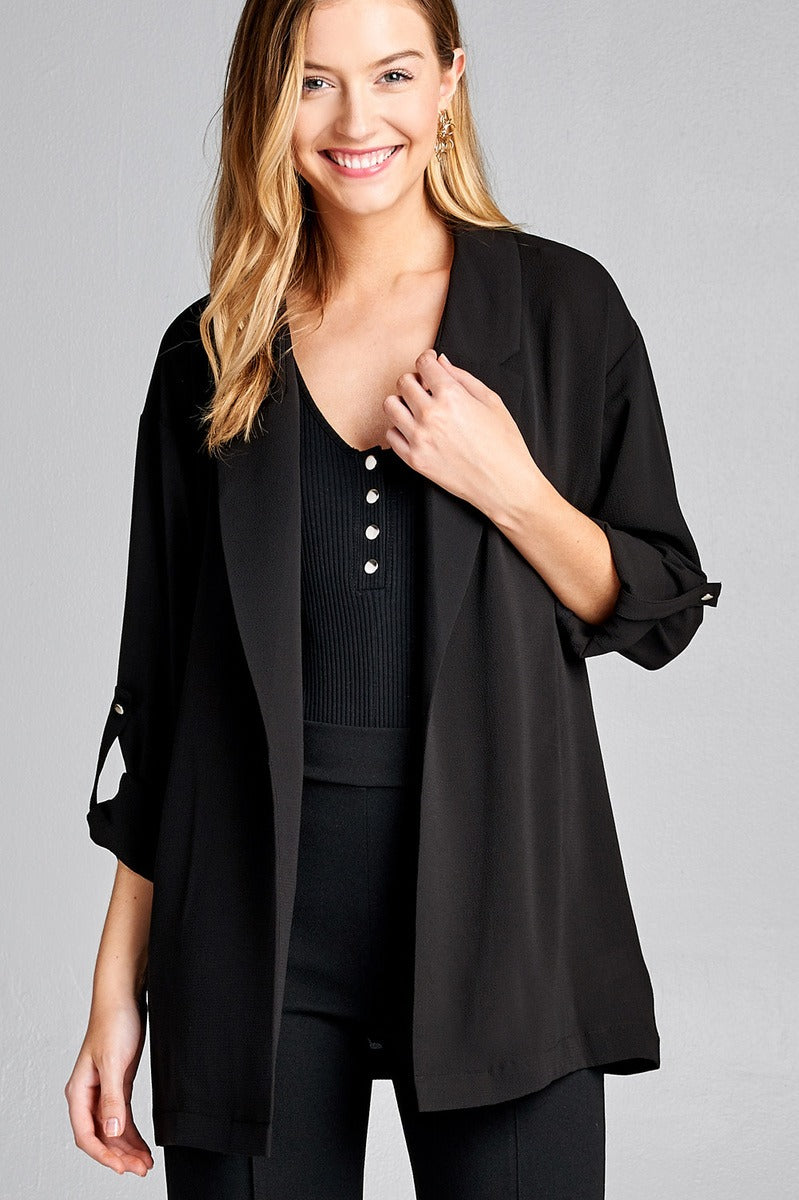 Open-front jacket, simplicity, Roll-up sleeve, Polyester material, spandex material, black color