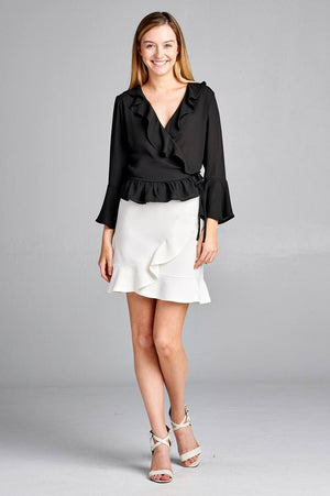 Bell Sleeve Ruffle Shirt, Ruffle and side tie decoration, Polyester Material, 3/4 Bell Sleeve, V-neck, Black Color