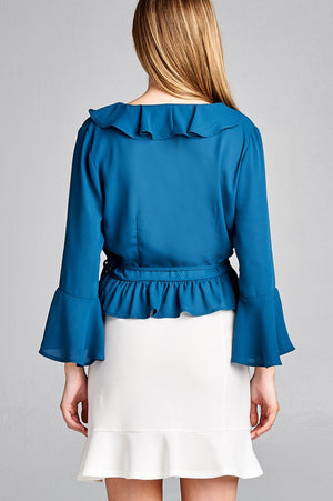 Bell Sleeve Ruffle Shirt, Ruffle and side tie decoration, Polyester Material, 3/4 Bell Sleeve, V-neck, Midnight Blue Color