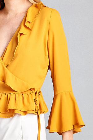 Bell Sleeve Ruffle Shirt, Ruffle and side tie decoration, Polyester Material, 3/4 Bell Sleeve, V-neck, Sunflower Color