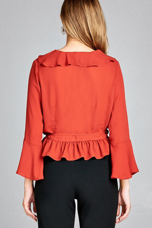 Bell Sleeve Ruffle Shirt, Ruffle and side tie decoration, Polyester Material, 3/4 Bell Sleeve, V-neck, Cinnared Color