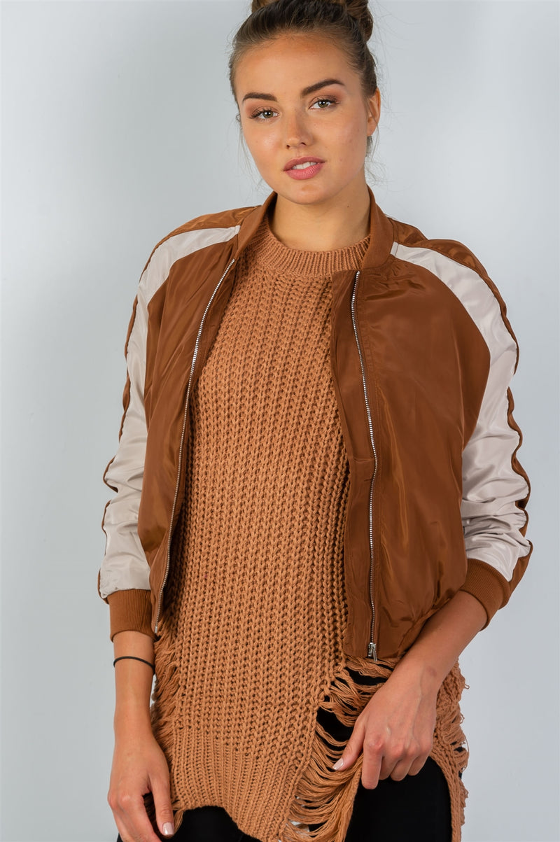 Bomber Jacket, Block stand collar, zipper decoration, Long sleeves, Polyester and Spandex Material, Camel Color