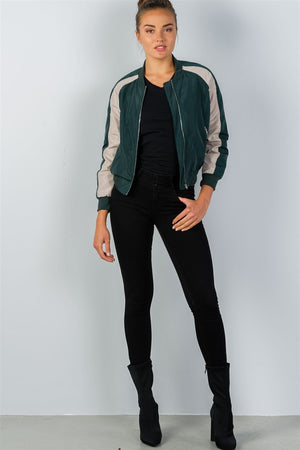 Bomber Jacket, Block stand collar, zipper decoration, Long sleeves, Polyester and Spandex Material, Hunter Green Color