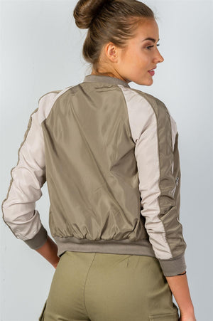 Bomber Jacket, Block stand collar, zipper decoration, Long sleeves, Polyester and Spandex Material, Khaki Color