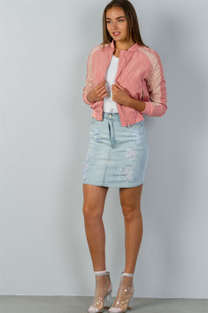 Bomber Jacket, Block stand collar, zipper decoration, Long sleeves, Polyester and Spandex Material, Blush Color