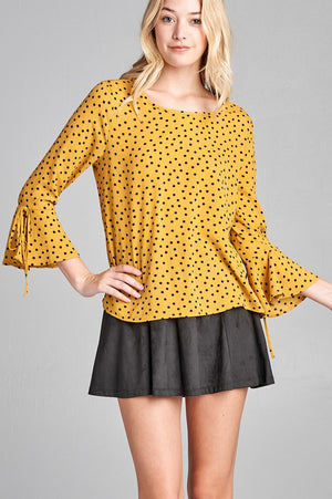 Hem dot Shirt, Spandex Material, 3/4 Bell Sleeves, Round Neck, Simple yet Stylish, Mustard/Black