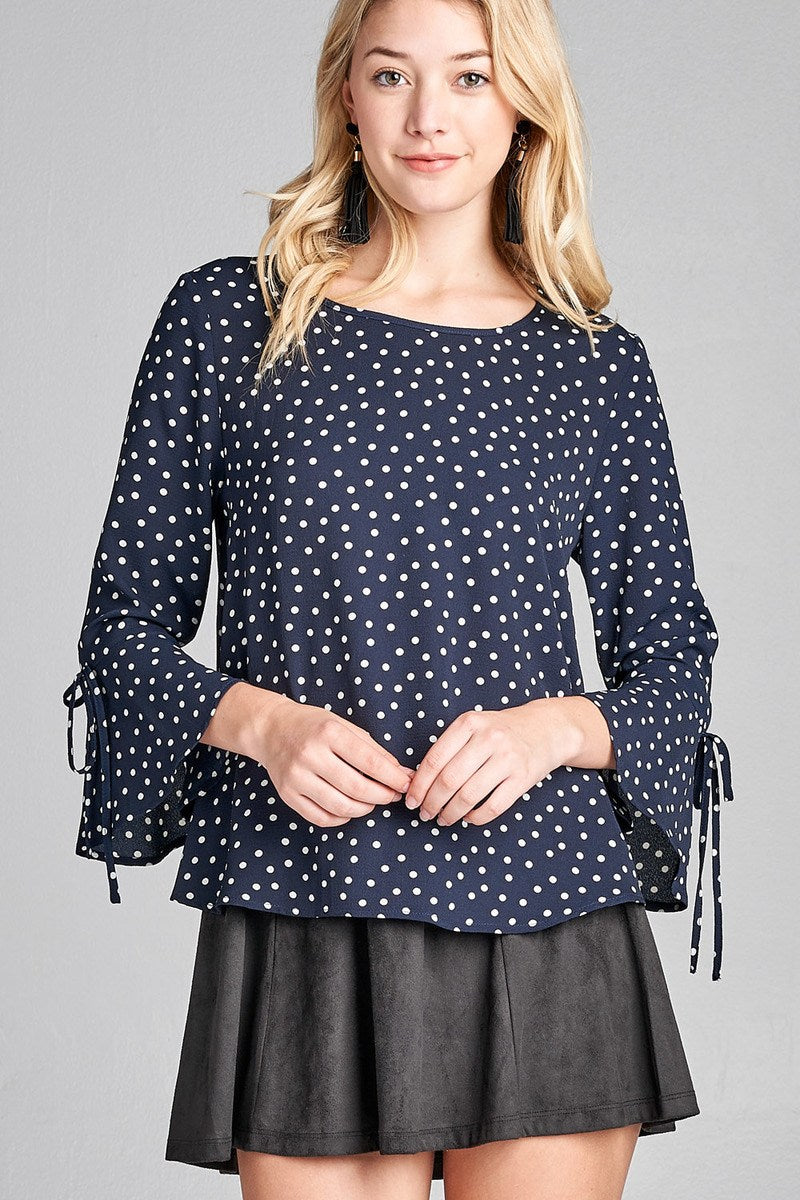 Hem dot Shirt, Spandex Material, 3/4 Bell Sleeves, Round Neck, Simple yet Stylish, Navy/Off White