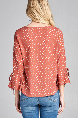 Hem dot Shirt, Spandex Material, 3/4 Bell Sleeves, Round Neck, Simple yet Stylish, Rosy Pink/White