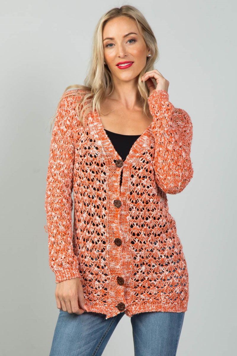 Material: 65% Cotton 35% Polyester Sleeve Length: Long Pattern: Color-block Closure Type: Button-down closure Knitted Comfortable Cardigan, orange color