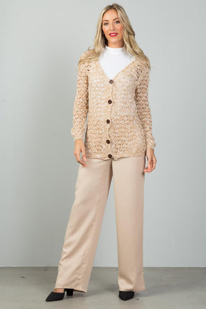 Material: 65% Cotton 35% Polyester Sleeve Length: Long Pattern: Color-block Closure Type: Button-down closure Knitted Comfortable Cardigan, beige/white color
