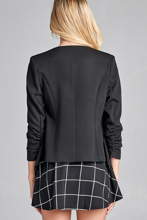 Material: Polyester 3% Spandex Sleeves: 3/4 shirring sleeve Closure Type: None, open front Fit Type: Regular Open Front Woven Jacket, black  color