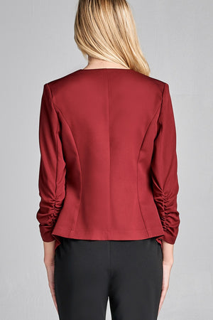 Material: Polyester 3% Spandex Sleeves: 3/4 shirring sleeve Closure Type: None, open front Fit Type: Regular Open Front Woven Jacket, burgundy color