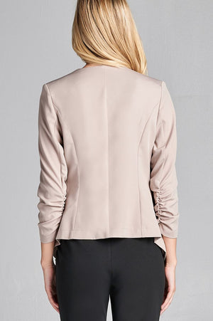 Material: Polyester 3% Spandex Sleeves: 3/4 shirring sleeve Closure Type: None, open front Fit Type: Regular Open Front Woven Jacket, khaki color