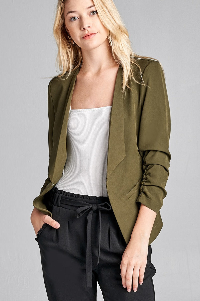 Material: Polyester 3% Spandex Sleeves: 3/4 shirring sleeve Closure Type: None, open front Fit Type: Regular Open Front Woven Jacket, olive color