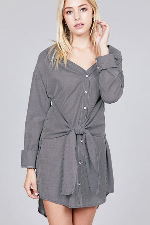 Material:100% Cotton Sleeve Length: Long Pattern: Striped Details: Sleeves w/wide cuff, self-tie waist Fit Type: Loose Striped Shirt Dress, dark grey/Off white color